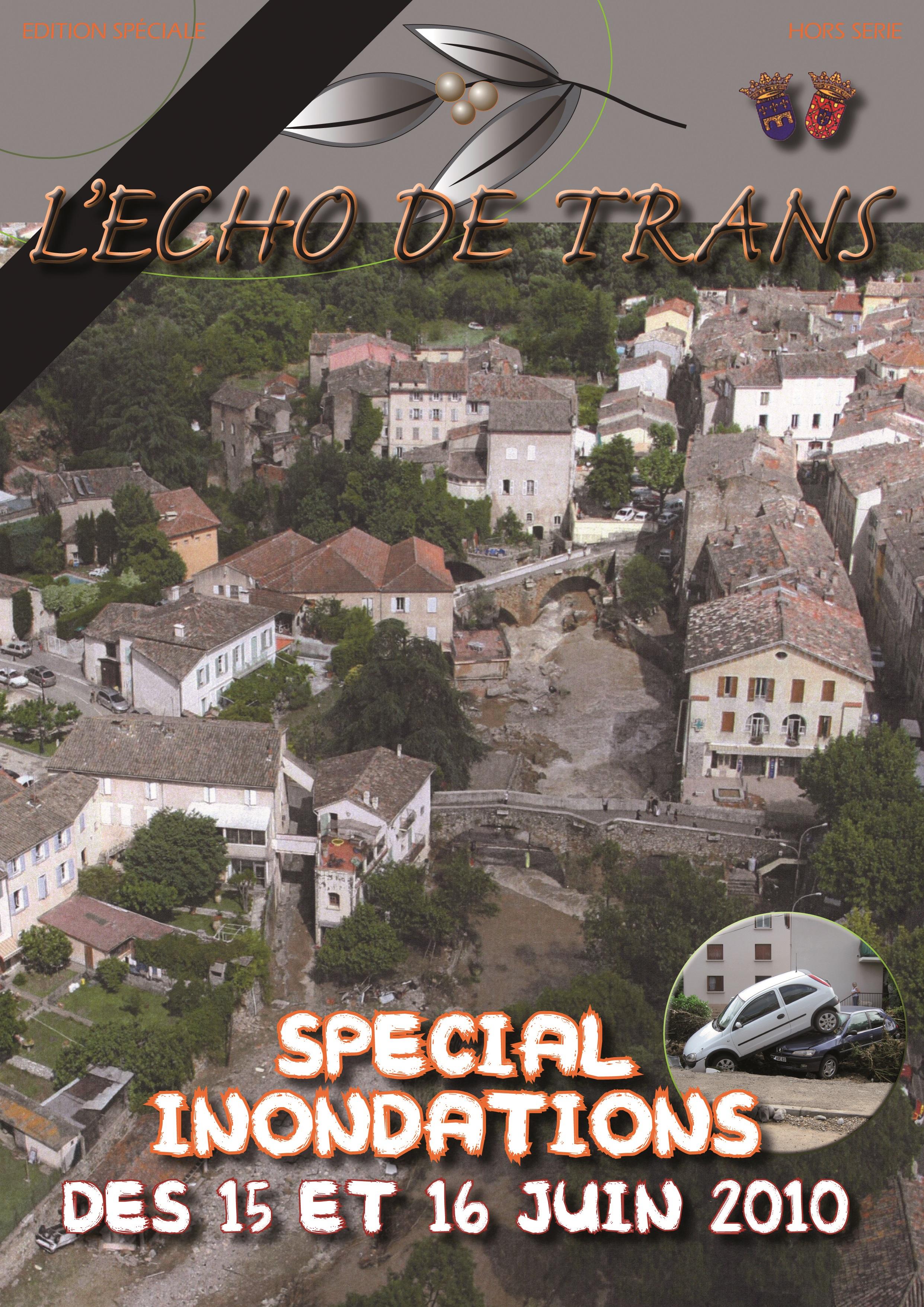 Couverture du magazine municipal Echo de Trans édition spéciale inondations 2010