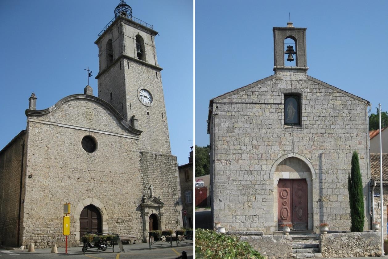 Église Saint-Victor à gauche, et Chapelle Notre-Dame à droite