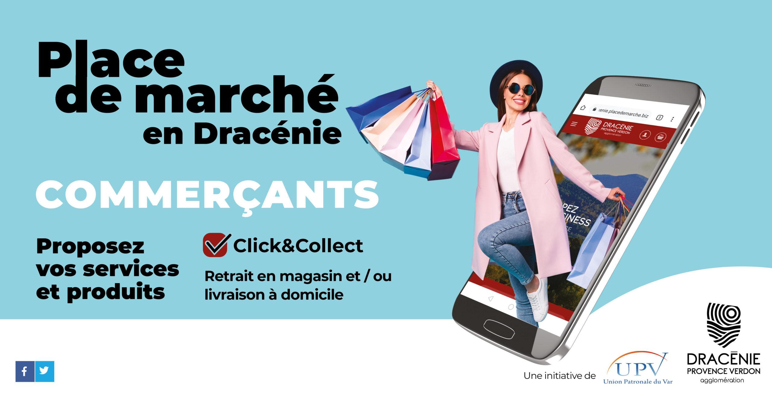"""Visuel de la plateforme en ligne """"place de marché en Dracénie"""""""