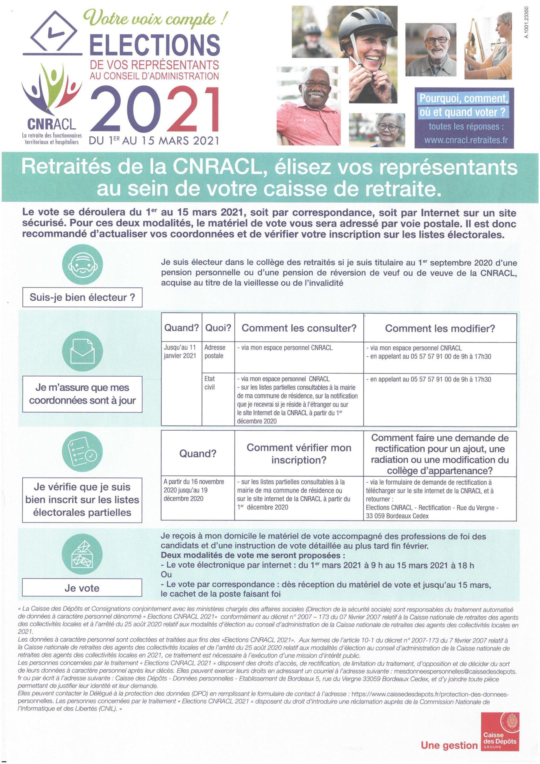 Election des représentants au Conseil d'Administration CNRACL du 1er au 15 mars 2021