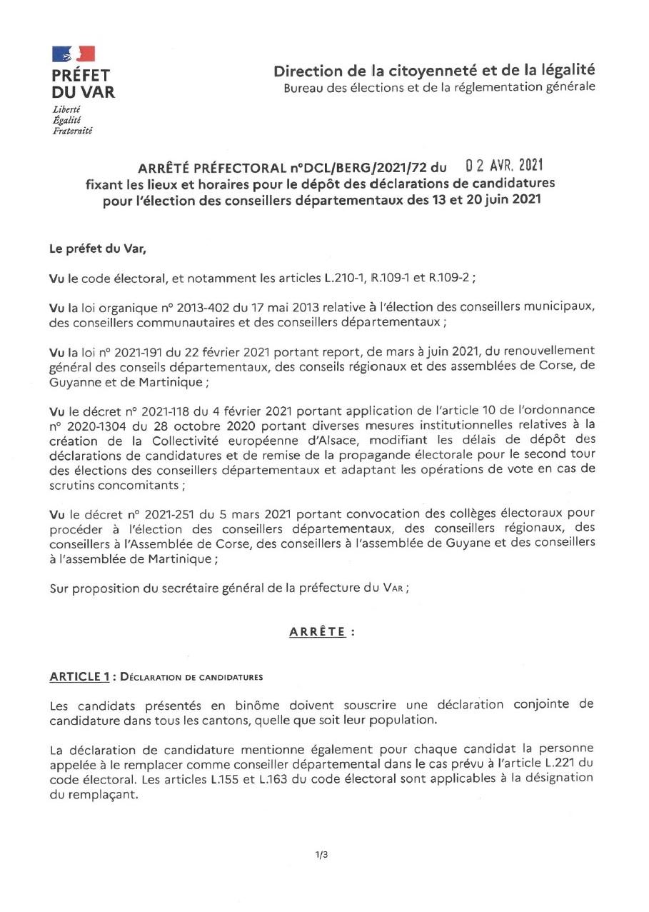 Page 1 de l'arrêté préfectoral concernant les candidatures des conseillers départementaux