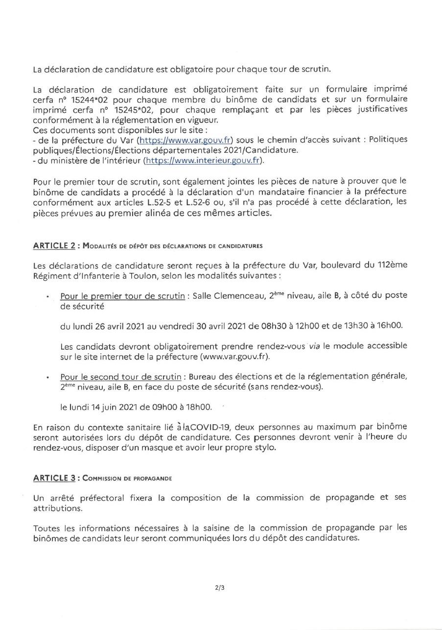 Page 2 de l'arrêté préfectoral concernant les candidatures des conseillers départementaux