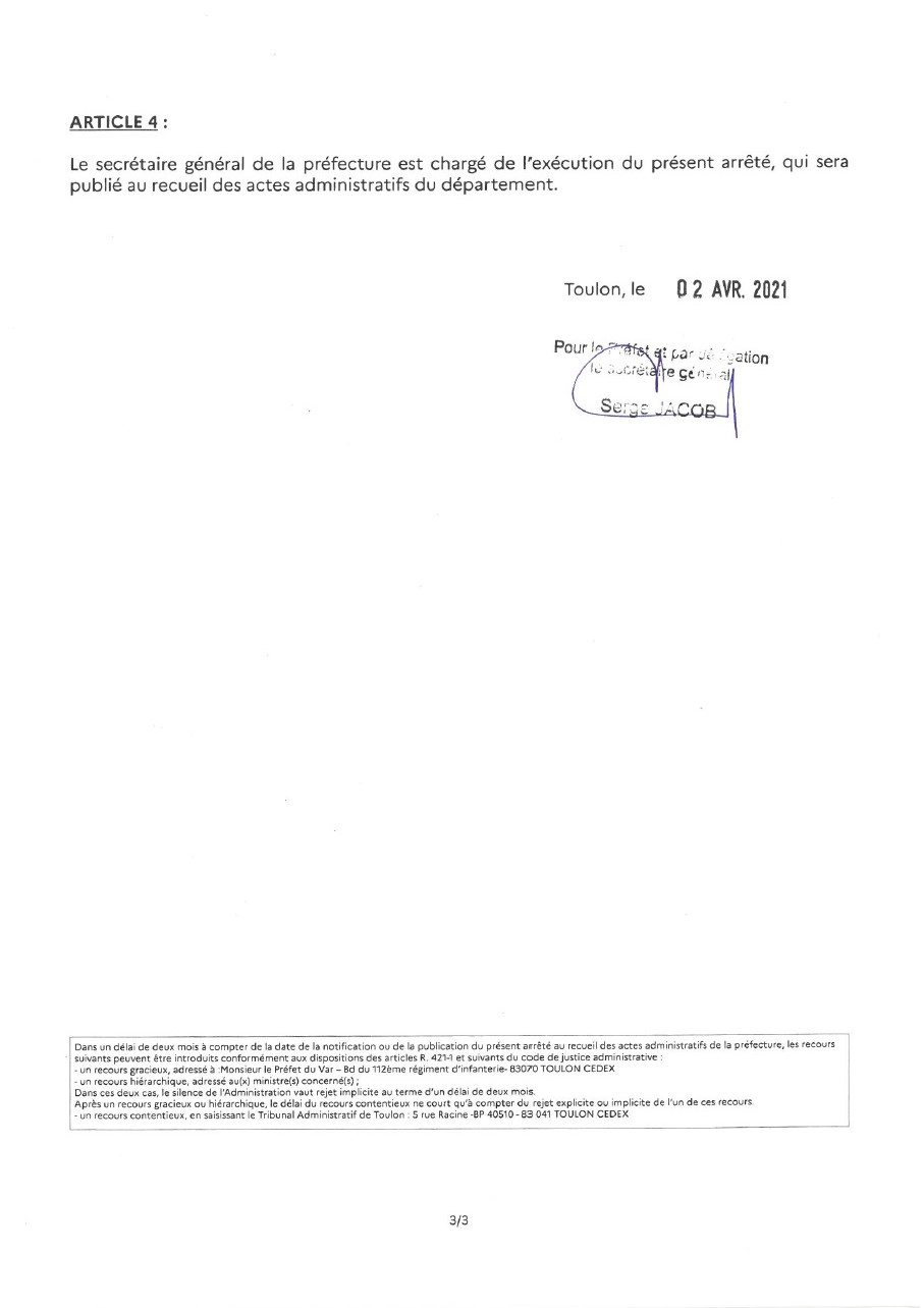 Page 3 de l'arrêté préfectoral concernant les candidatures des conseillers départementaux