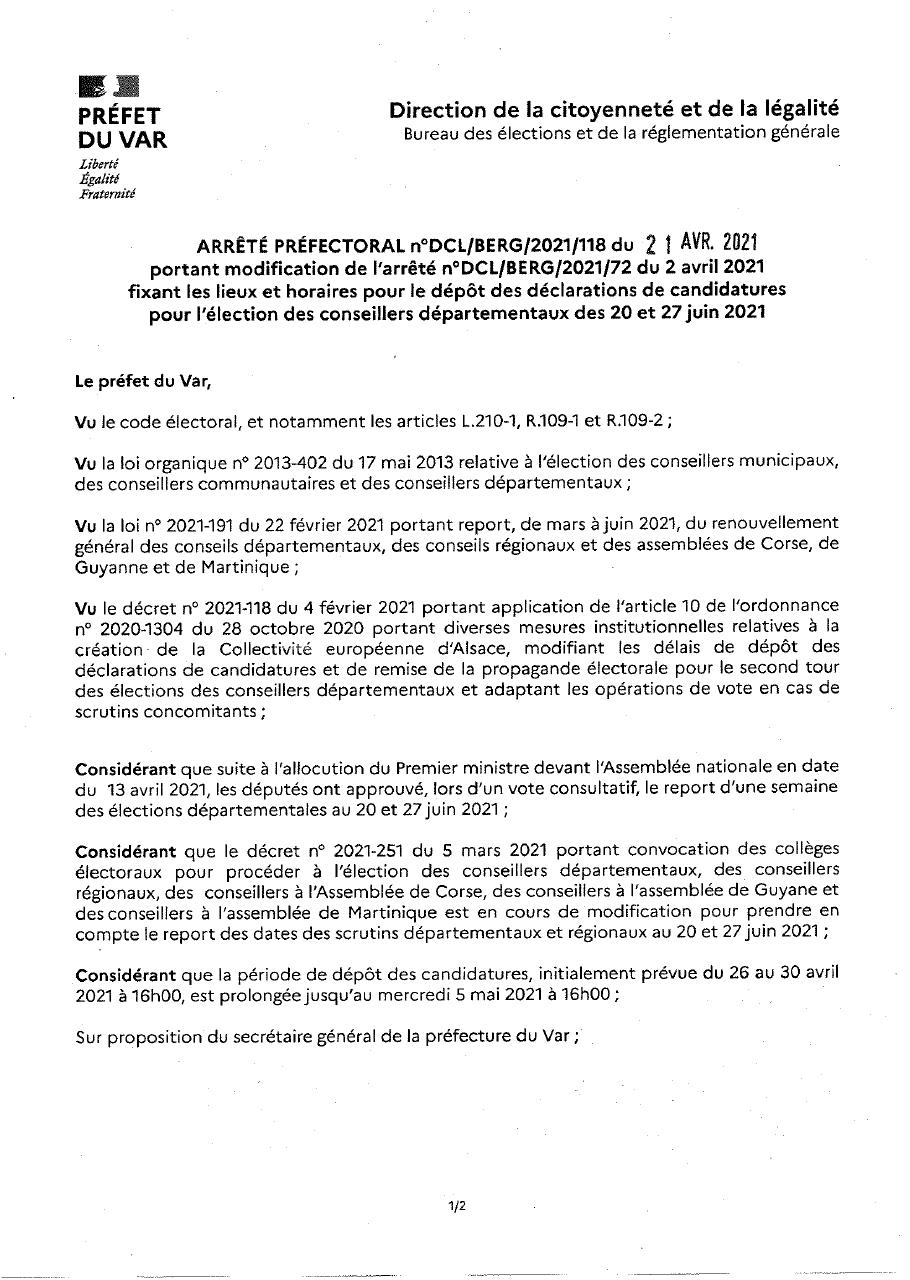 Modification de l'arrêté concernant les dépôts de candidature des conseillers départementaux - feuille 1