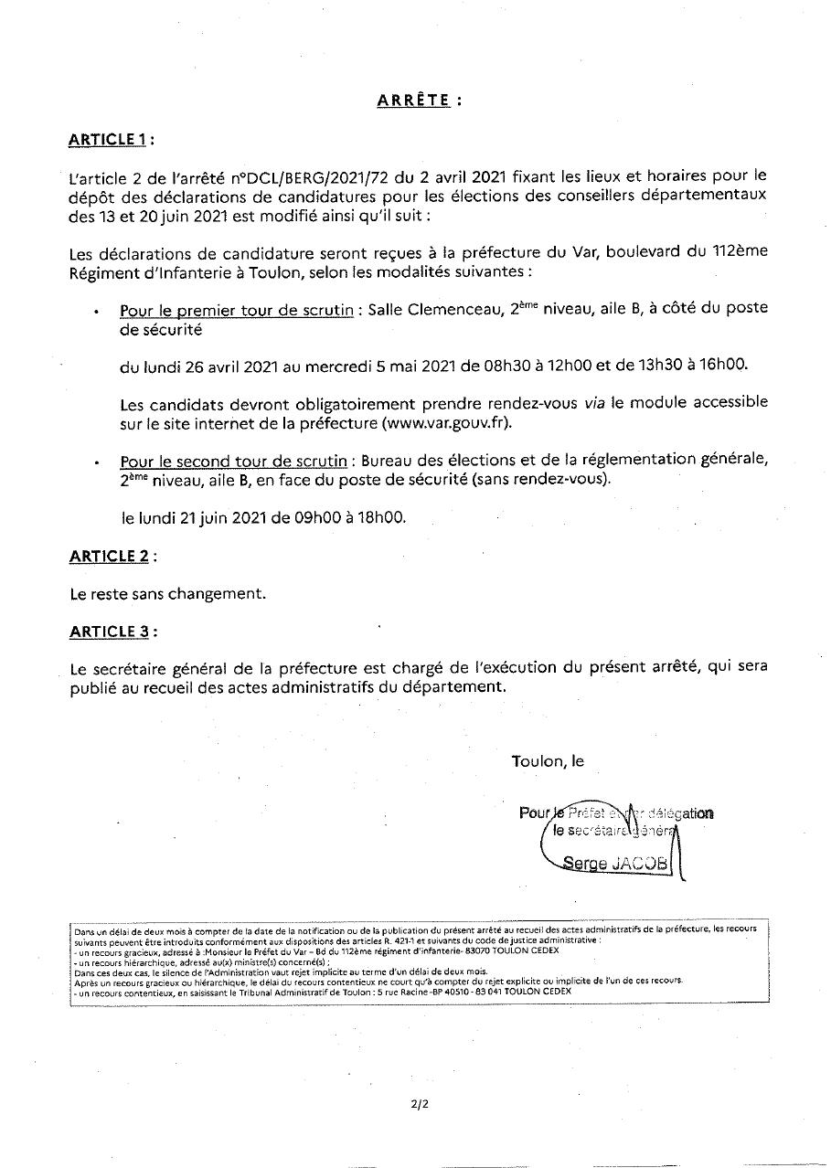 Modification de l'arrêté concernant les dépôts de candidature des conseillers départementaux - feuille 2